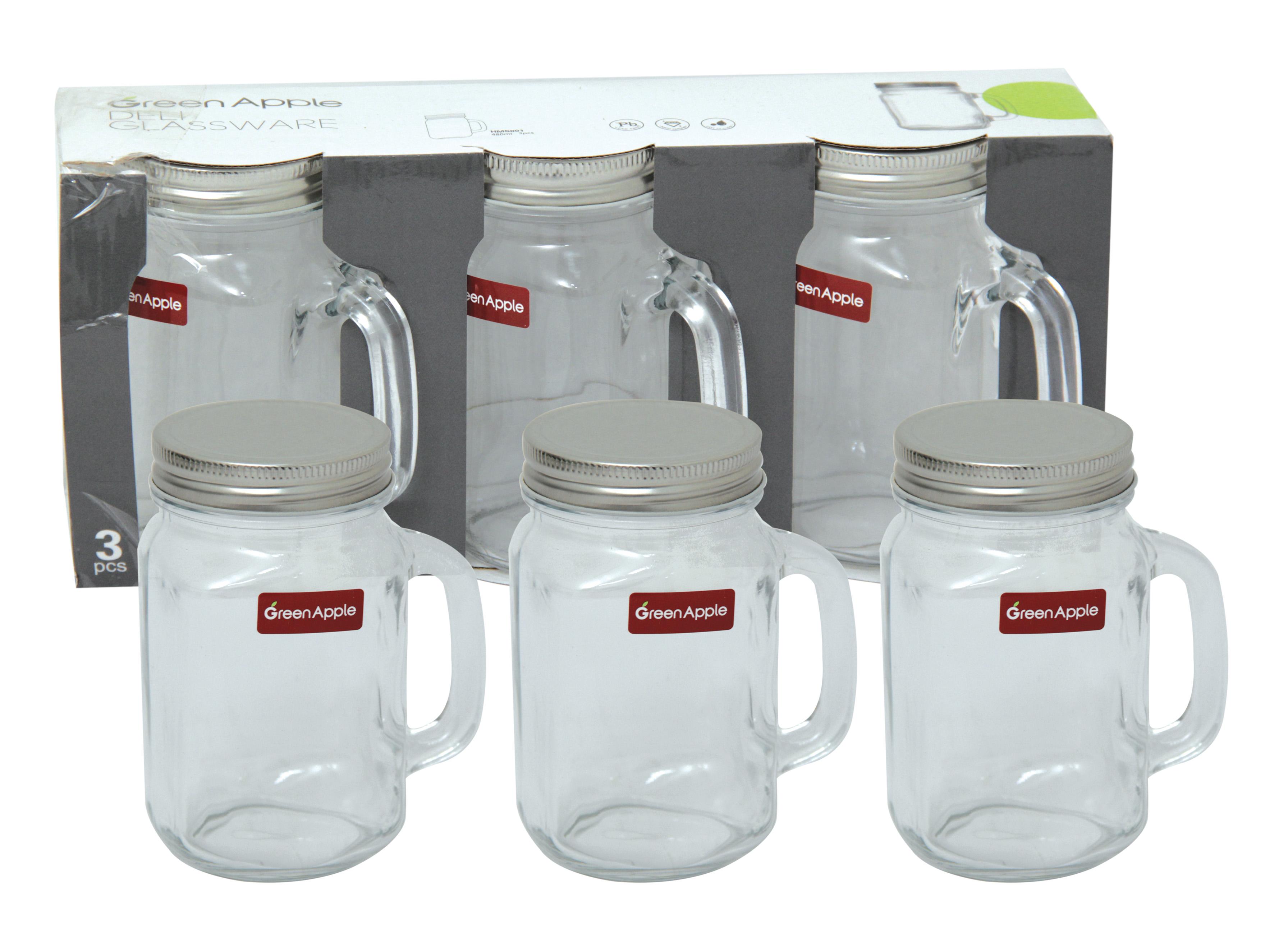 glass jar with lid 3 pcs