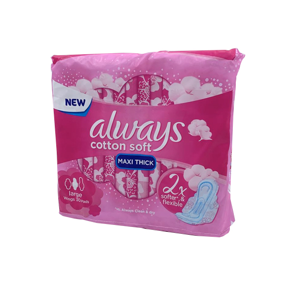 ALWAYS COTTON SOFT MAXI THICK LARGE WITH WINGS 30 PADS