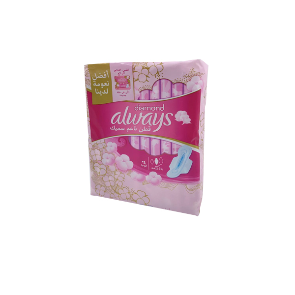 ALWAYS DIAMOND COTTON SOFT THING LARGE WINGS 24 PADS