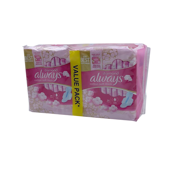 ALWAYS DIAMOND COTTON SOFT THICK LARGE WINGS 2 x 24 PADS