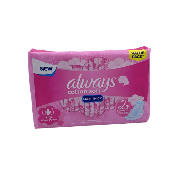 ALWAYS COTTON SOFT MAXI THICK LARGE WITH WINGS 50 PADS