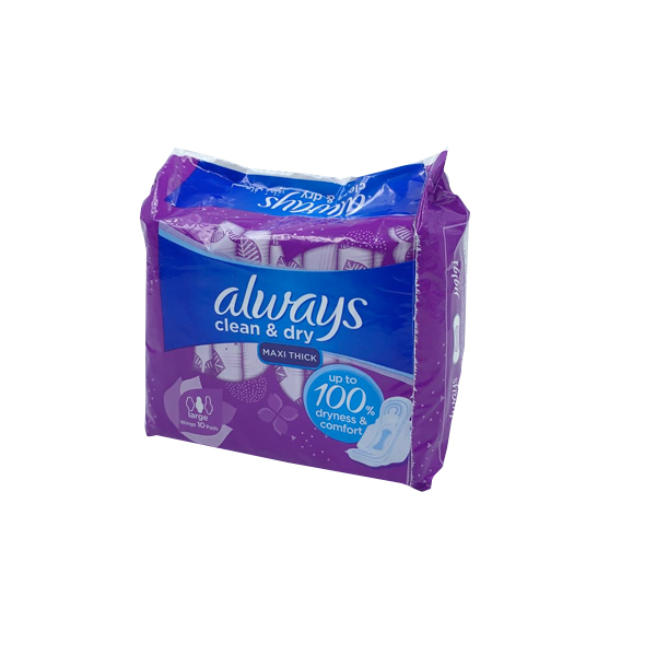 ALWAYS CLEAN & DRY MAXI THICK LARGE WITH 10 PADS