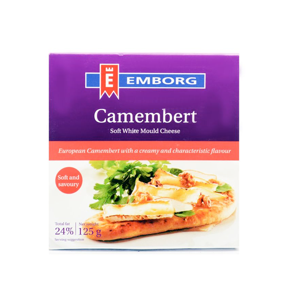 EMBORG CAMEMBERT SOFT WHITE MOULD CHEESE 125GM