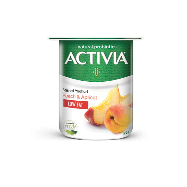 ACTIVIA STIRRED YOGHURT PEACH-APRICOT LOW FAT 120GM